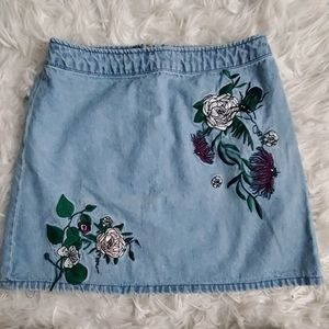 Floral Embroidered Jean Skirt